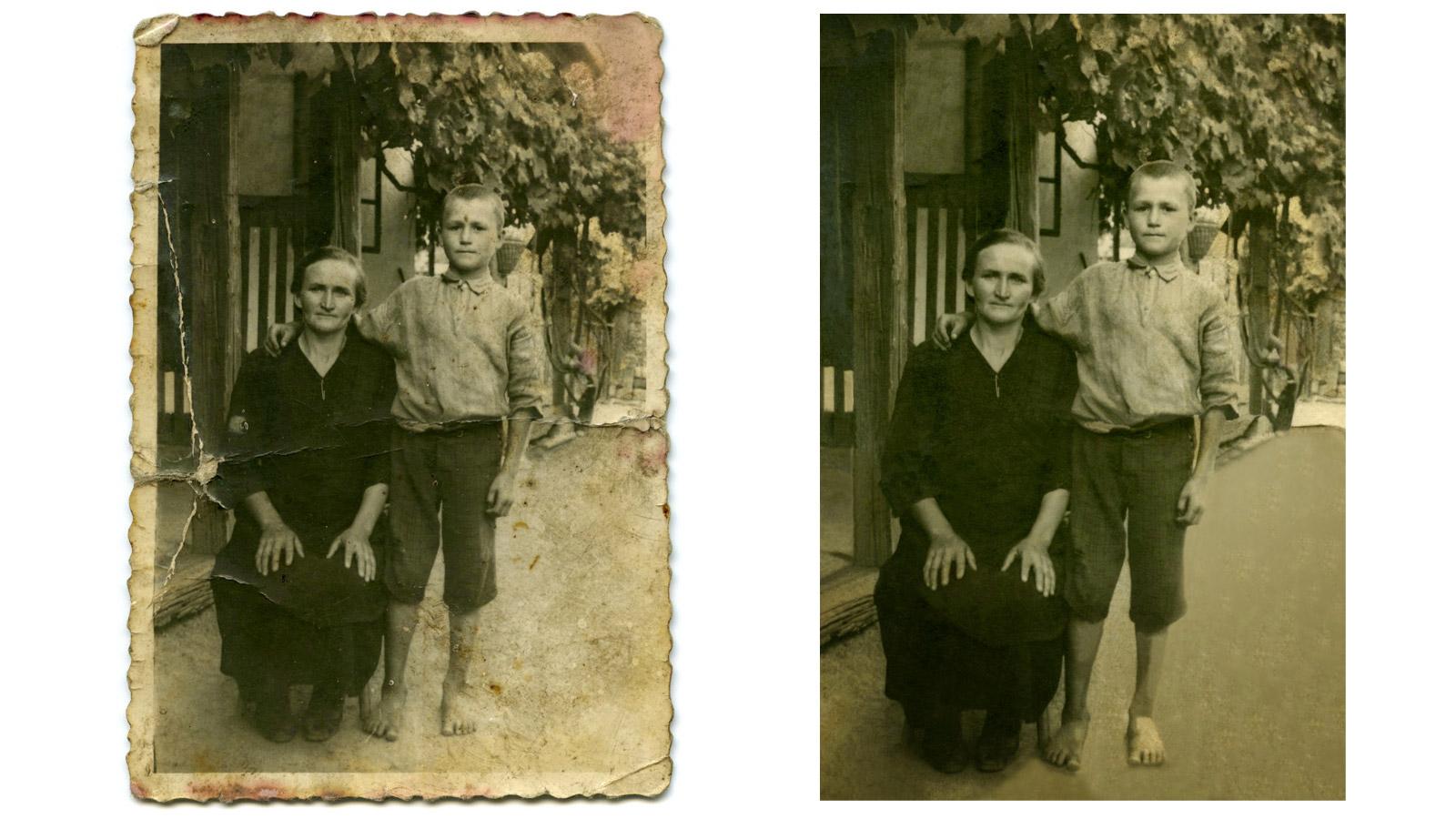 Kép az 193o-as évek végéről: dédanyánk és nemrég elhunyt nagyapánk fiatal fiúként.