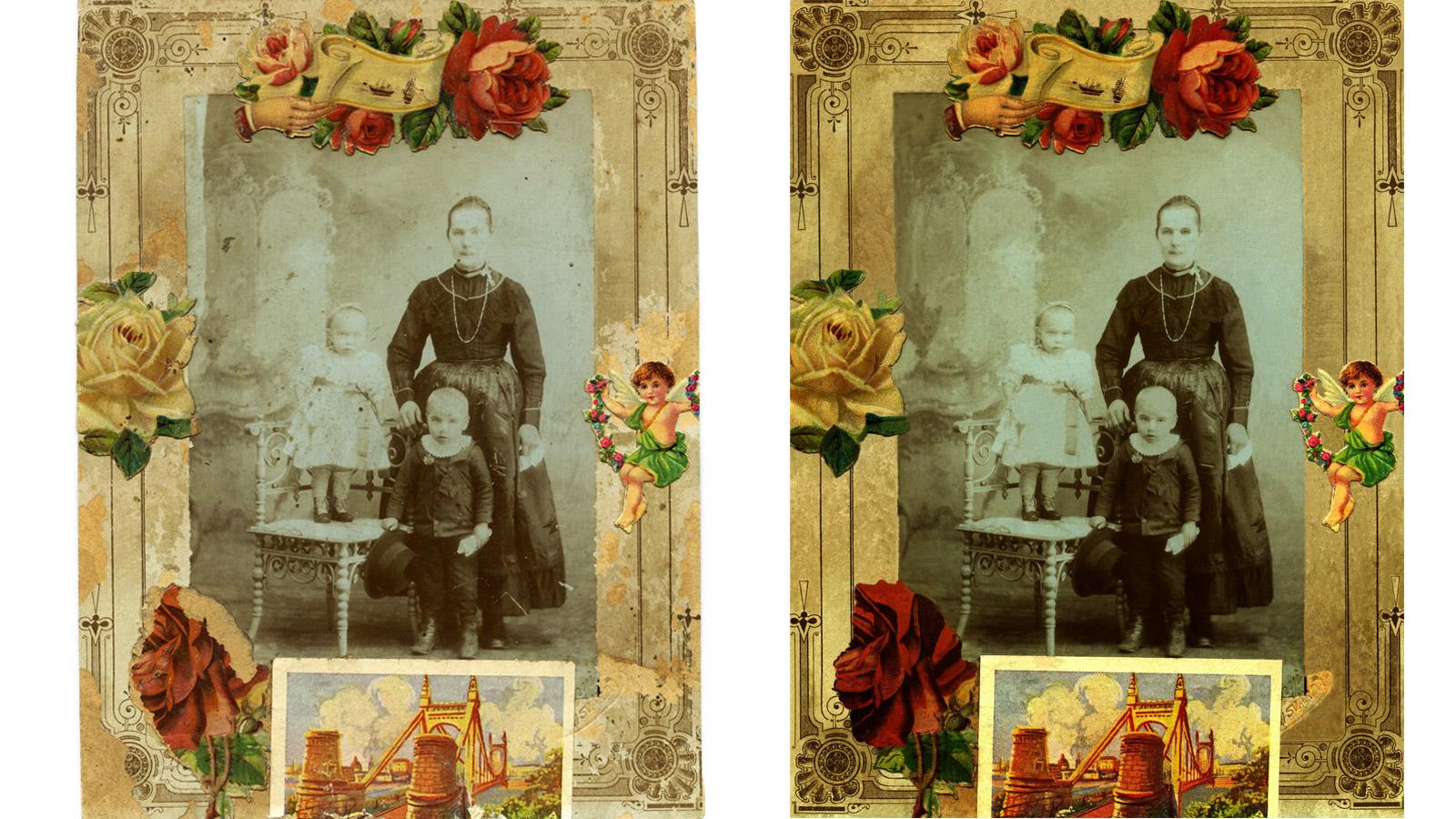 Kép az 19oo-as évek elejéről: üknagyanyánk, a fenti képen látható dédapánk a kicsi fiúcska, s lánytestvére áll a széken.