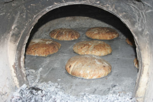 Bread baking and feast at the new outside oven